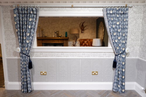 GP& J BAKER CURTAINS WITH POLE TIEBACKS AND HOLD BACKS